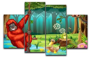orangutan swinging in the jungle 4 Split Panel Canvas  - Canvas Art Rocks - 1