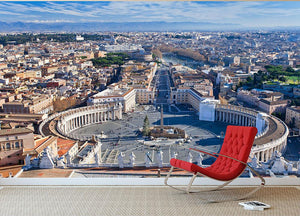 panorama of St.Peter Square Wall Mural Wallpaper - Canvas Art Rocks - 2