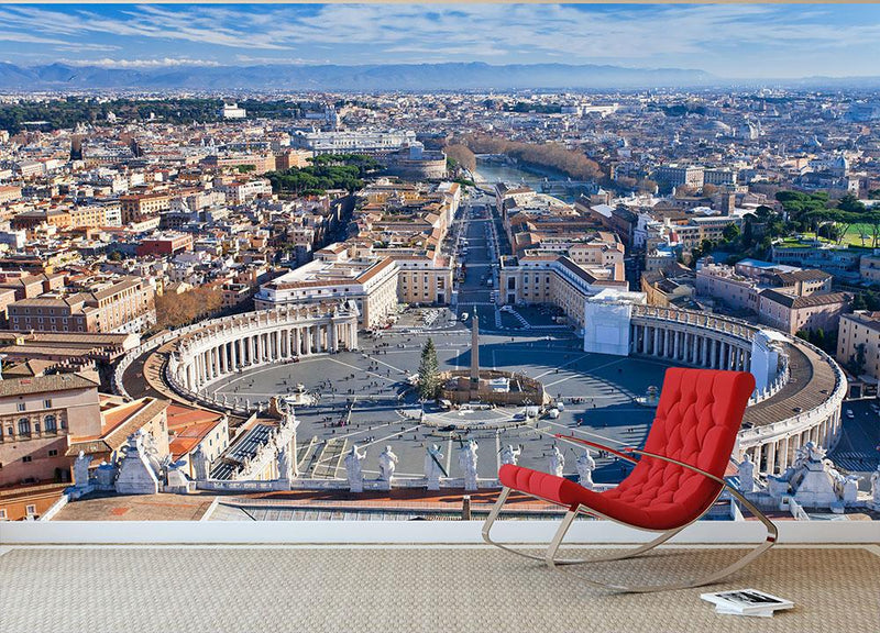 panorama of St.Peter Square Wall Mural Wallpaper - Canvas Art Rocks - 1