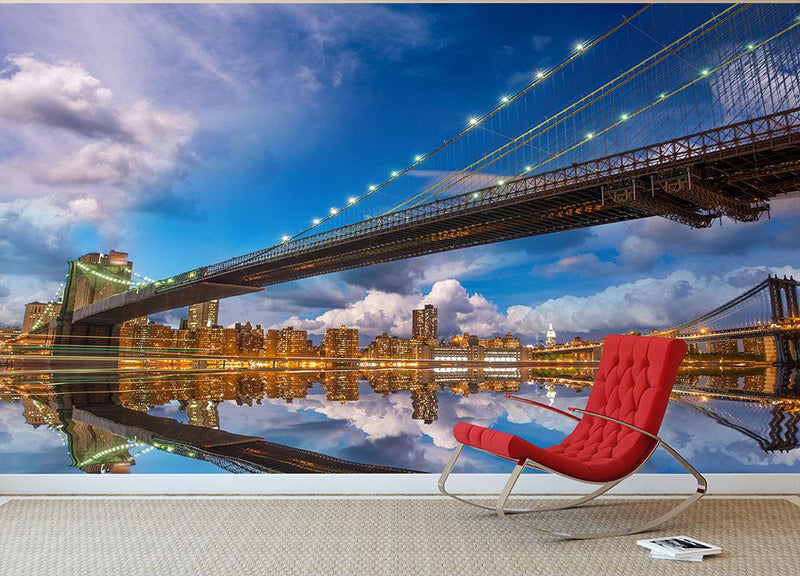 panoramic sunset with Brooklyn and Manhattan Bridge Wall Mural Wallpaper - Canvas Art Rocks - 1