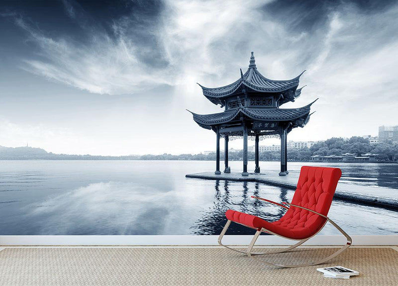 pavilion on the west lake Wall Mural Wallpaper - Canvas Art Rocks - 2