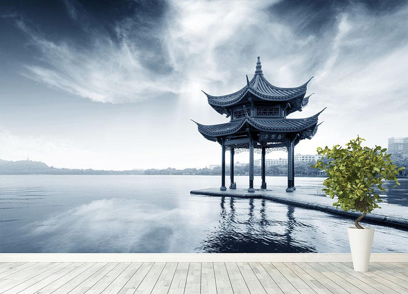 pavilion on the west lake Wall Mural Wallpaper - Canvas Art Rocks - 4
