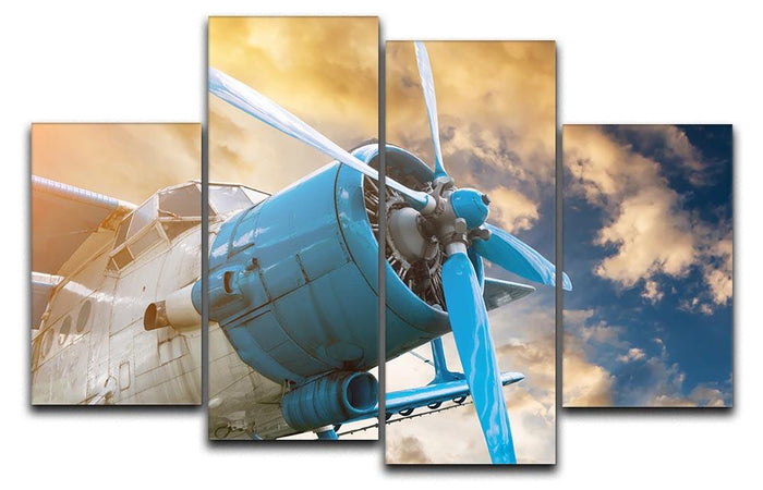 plane with propeller 4 Split Panel Canvas