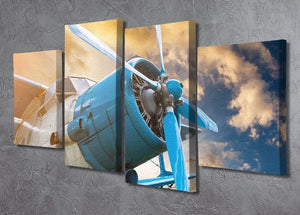 plane with propeller 4 Split Panel Canvas  - Canvas Art Rocks - 2