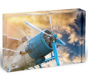 plane with propeller Acrylic Block - Canvas Art Rocks - 1