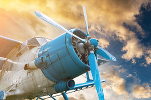 plane with propeller Wall Mural Wallpaper - Canvas Art Rocks - 1