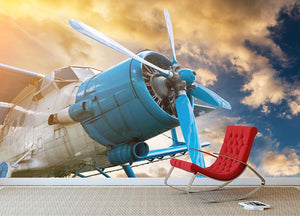 plane with propeller Wall Mural Wallpaper - Canvas Art Rocks - 2
