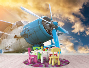 plane with propeller Wall Mural Wallpaper - Canvas Art Rocks - 3