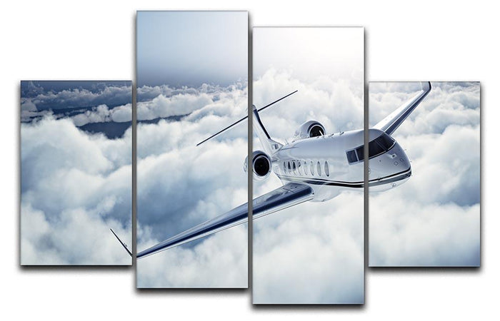 private jet flying over the earth 4 Split Panel Canvas