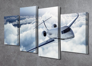 private jet flying over the earth 4 Split Panel Canvas  - Canvas Art Rocks - 2