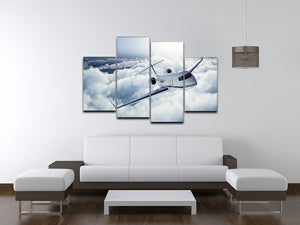 private jet flying over the earth 4 Split Panel Canvas  - Canvas Art Rocks - 3