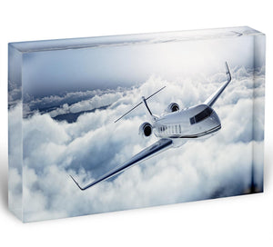 private jet flying over the earth Acrylic Block - Canvas Art Rocks - 1