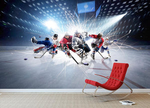 professional hockey players in action Wall Mural Wallpaper - Canvas Art Rocks - 2