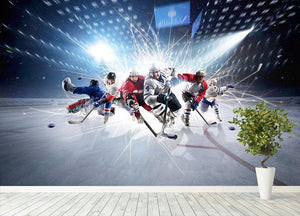 professional hockey players in action Wall Mural Wallpaper - Canvas Art Rocks - 4