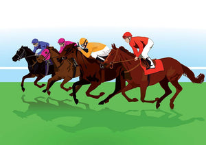 racehorses Wall Mural Wallpaper - Canvas Art Rocks - 1