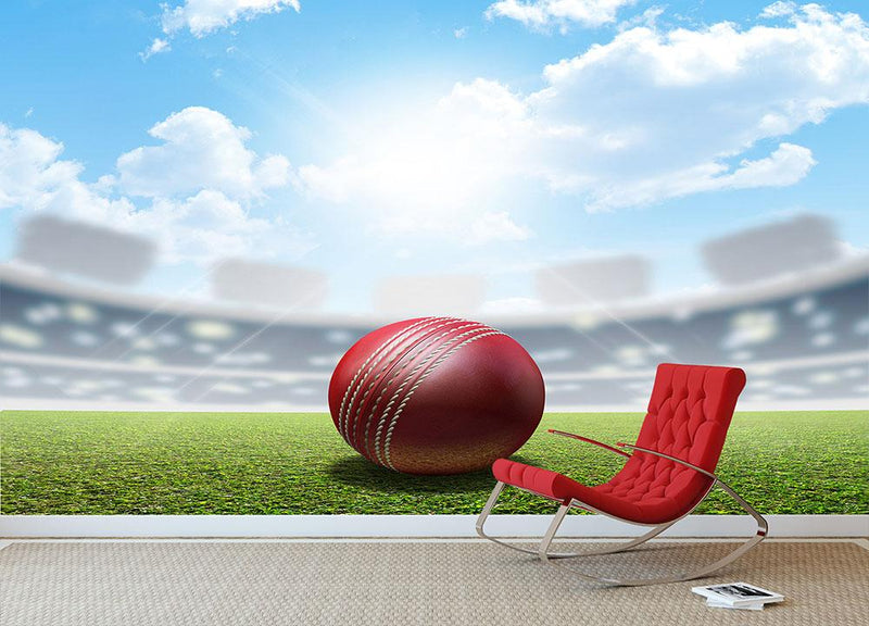 red leather cricket ball on green grass Wall Mural Wallpaper - Canvas Art Rocks - 1