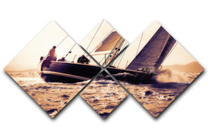 sail boat sailing on sunset 4 Square Multi Panel Canvas  - Canvas Art Rocks - 1