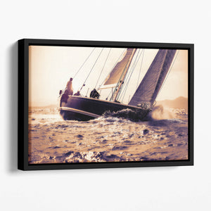 sail boat sailing on sunset Floating Framed Canvas