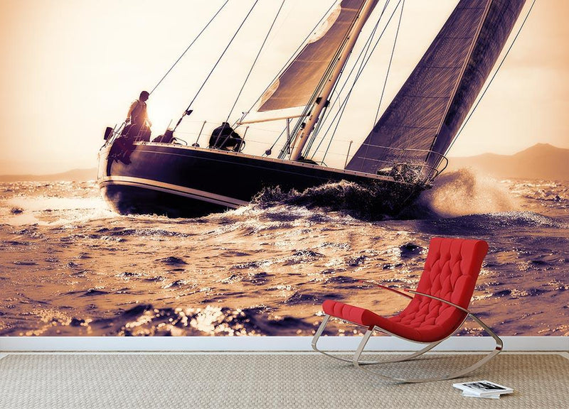 sail boat sailing on sunset Wall Mural Wallpaper - Canvas Art Rocks - 1