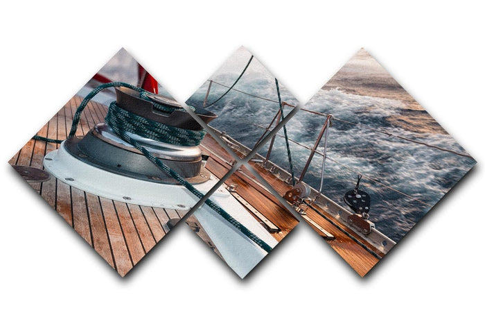 sail boat under the storm 4 Square Multi Panel Canvas