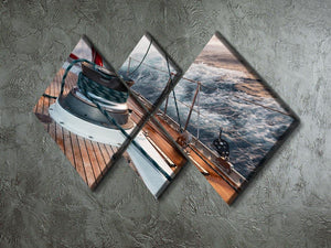 sail boat under the storm 4 Square Multi Panel Canvas  - Canvas Art Rocks - 2