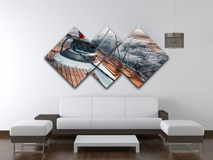 sail boat under the storm 4 Square Multi Panel Canvas  - Canvas Art Rocks - 3