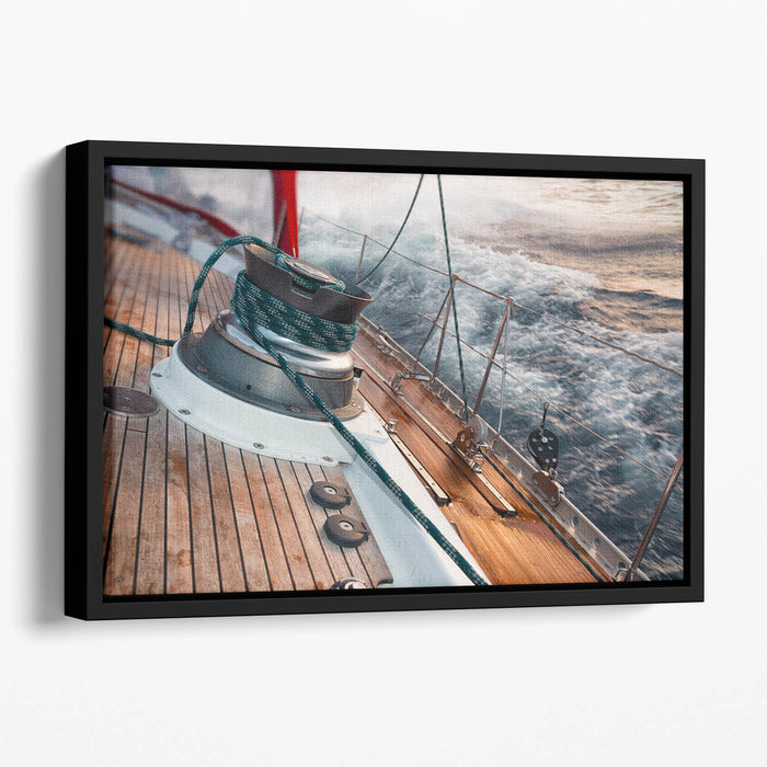 sail boat under the storm Floating Framed Canvas