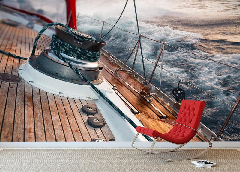 sail boat under the storm Wall Mural Wallpaper - Canvas Art Rocks - 1