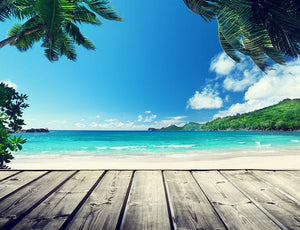 seychelles beach and wooden pier Wall Mural Wallpaper - Canvas Art Rocks - 1