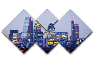 skyline from Greenwich 4 Square Multi Panel Canvas  - Canvas Art Rocks - 1
