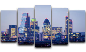 skyline from Greenwich 5 Split Panel Canvas  - Canvas Art Rocks - 1