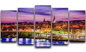 skyline on the Potomac River 5 Split Panel Canvas  - Canvas Art Rocks - 1
