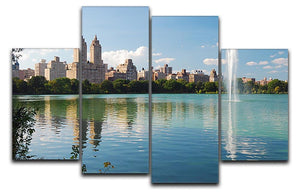 skyline with skyscrapers and trees lake reflection 4 Split Panel Canvas  - Canvas Art Rocks - 1