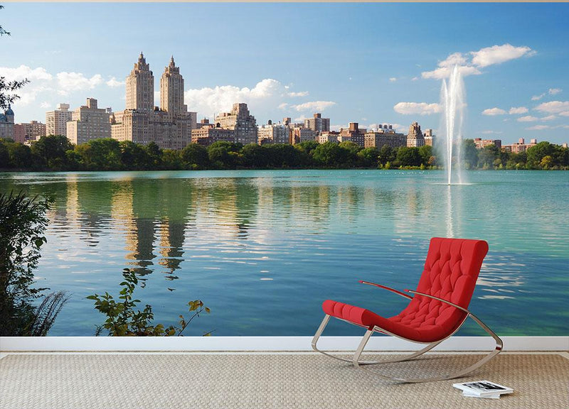 skyline with skyscrapers and trees lake reflection Wall Mural Wallpaper - Canvas Art Rocks - 1