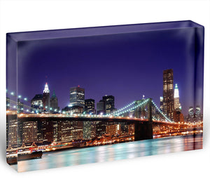 skyscrapers over Hudson River illuminated lights at dusk Acrylic Block - Canvas Art Rocks - 1
