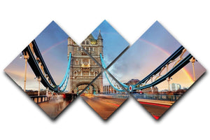 slow shutter speed Tower Bridge 4 Square Multi Panel Canvas  - Canvas Art Rocks - 1