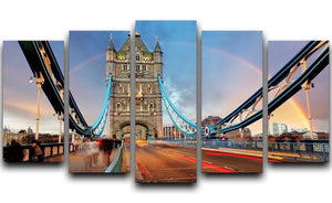slow shutter speed Tower Bridge 5 Split Panel Canvas  - Canvas Art Rocks - 1