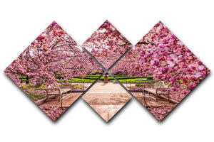 spring foliage near the National Mall 4 Square Multi Panel Canvas  - Canvas Art Rocks - 1