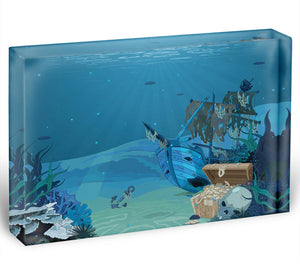 sunken sailboat on seabed background Acrylic Block - Canvas Art Rocks - 1