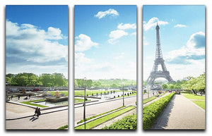 sunny morning and Eiffel Towe 3 Split Panel Canvas Print - Canvas Art Rocks - 1