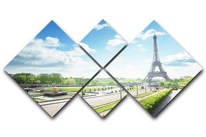 sunny morning and Eiffel Towe 4 Square Multi Panel Canvas  - Canvas Art Rocks - 1