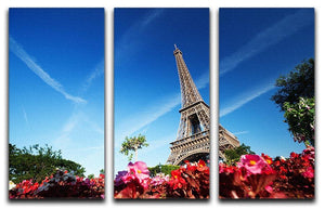 sunny morning flowers and Eiffel Tower 3 Split Panel Canvas Print - Canvas Art Rocks - 1