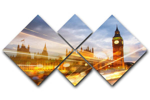 sunset Big Ben and houses of Parliament 4 Square Multi Panel Canvas  - Canvas Art Rocks - 1