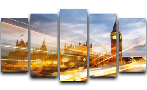 sunset Big Ben and houses of Parliament 5 Split Panel Canvas  - Canvas Art Rocks - 1