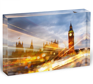 sunset Big Ben and houses of Parliament Acrylic Block - Canvas Art Rocks - 1