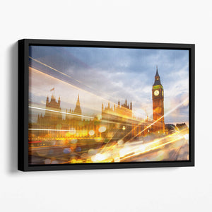 sunset Big Ben and houses of Parliament Floating Framed Canvas