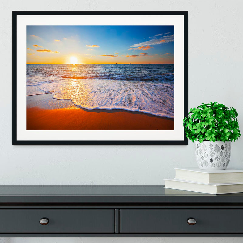 sunset and sea Framed Print - Canvas Art Rocks - 1