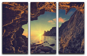 sunset from the mountain cave 3 Split Panel Canvas Print - Canvas Art Rocks - 1