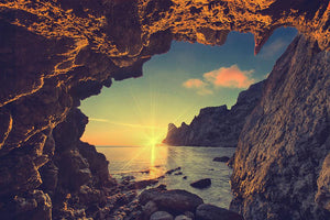sunset from the mountain cave Wall Mural Wallpaper - Canvas Art Rocks - 1