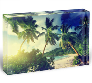 sunset on the beach Takamaka Mahe Acrylic Block - Canvas Art Rocks - 1